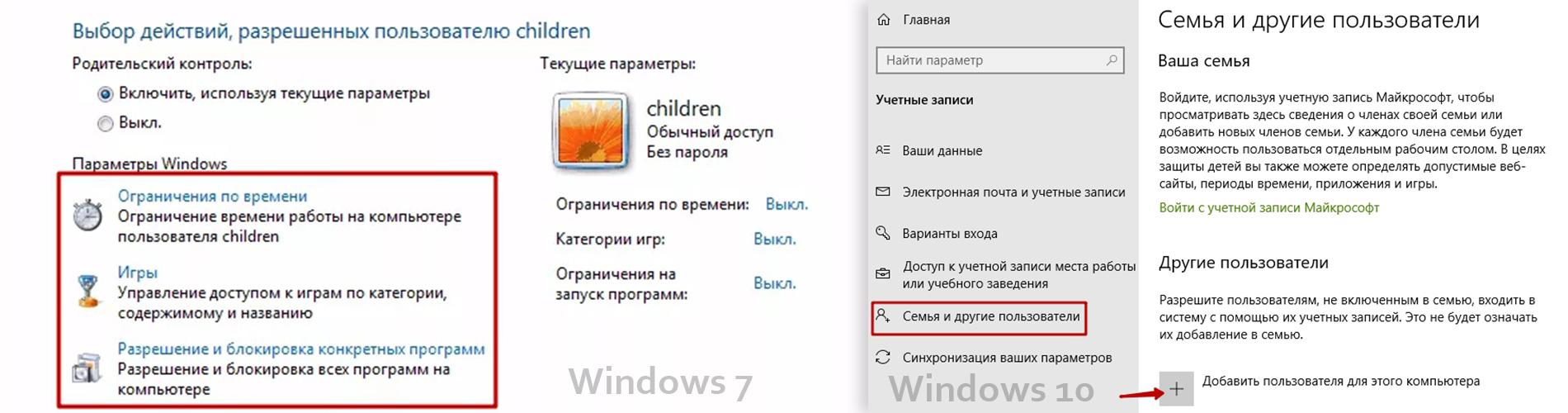 Учетная запись для ребёнка в Widows 7 и 10